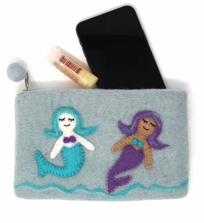 Handmade Mermaid Friends Felt Zipper Pouch