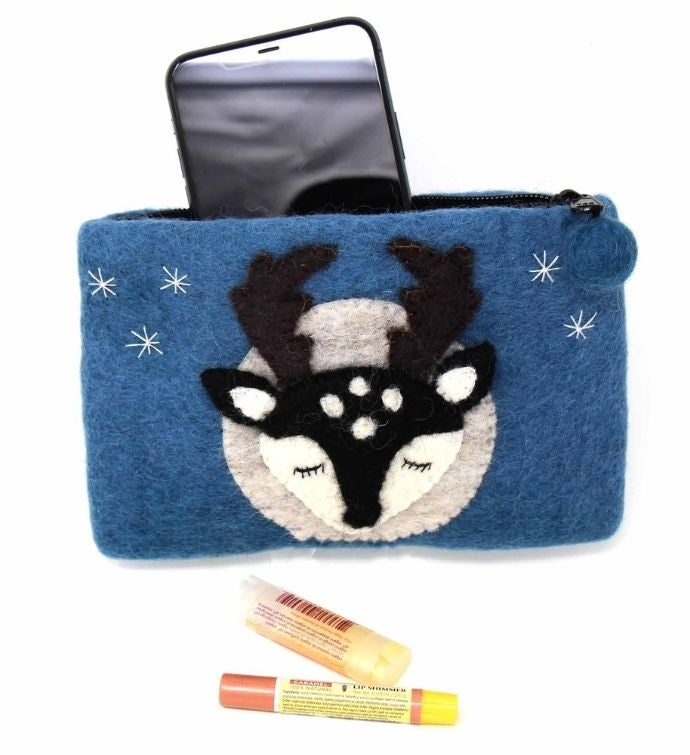 Handmade Starry Night Stag Felt Zipper Pouch