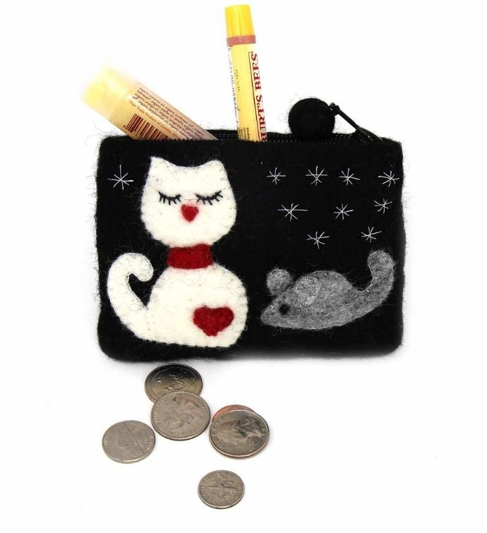 Handmade Cat  Mouse Felt Coin Purse