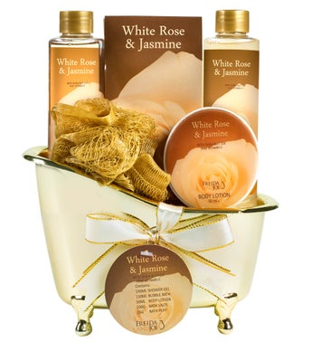 White Rose and Jasmine Luxury Spa Gift Set Tub