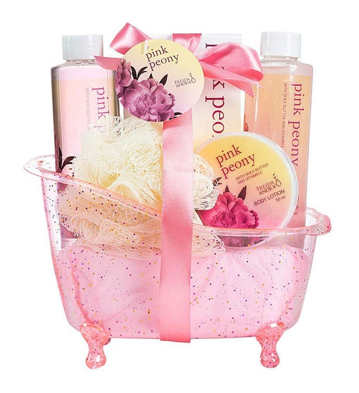Pink Peony Bath and Body Gift Set Tub
