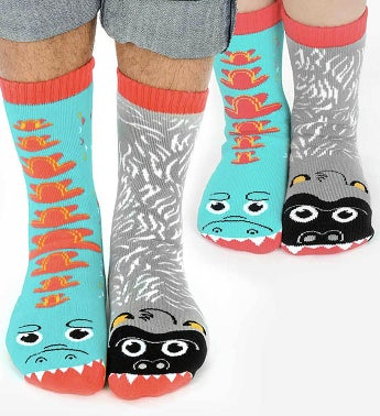 Giant Gorilla & Mutant Lizard | Adult + Kid Socks