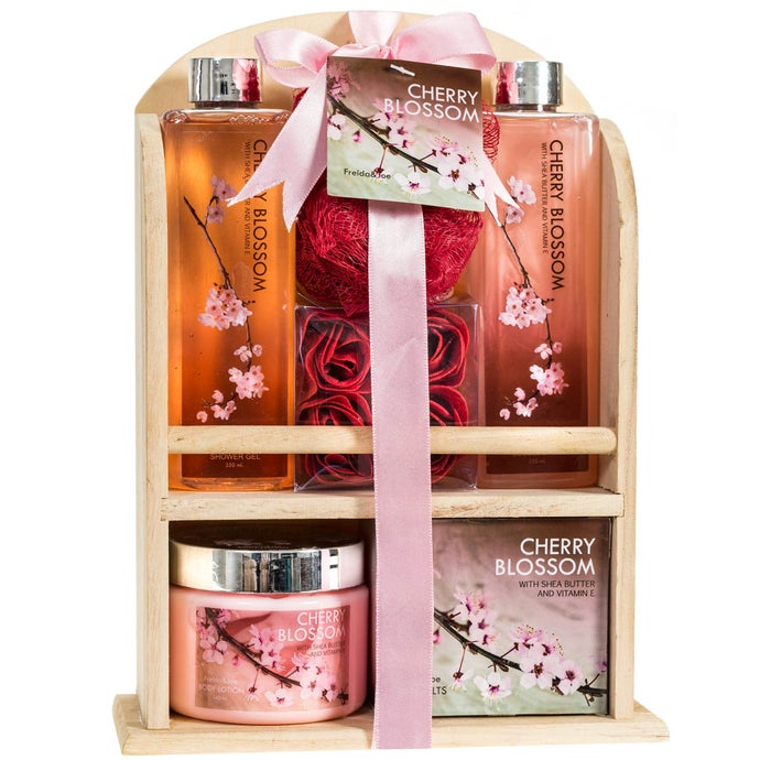 Cherry Blossom Spa Gift Set in a Natural Wood Caddy