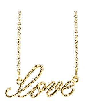 14k Gold Script Love Necklace,